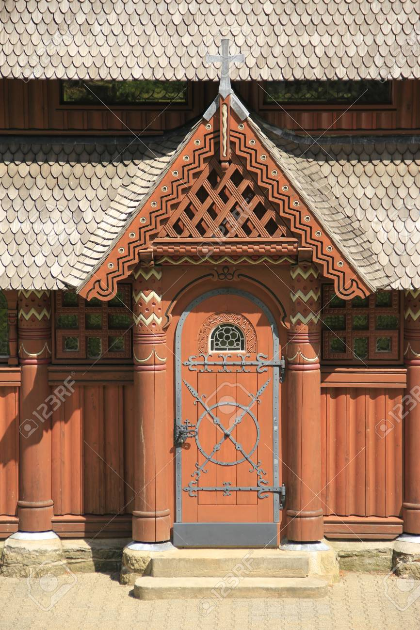 door at the nordic wood church in Hahnenklee-Bockswiese near Goslar Lower Saxony & Door At The Nordic Wood Church In Hahnenklee-Bockswiese Near ...