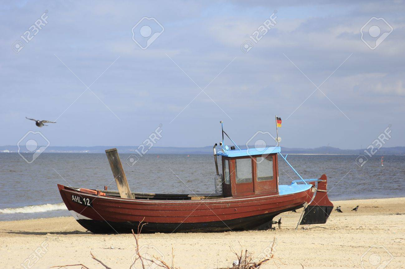 fishermans boat on the beach of the island of Usedom, Germany Stock Photo - 11317050