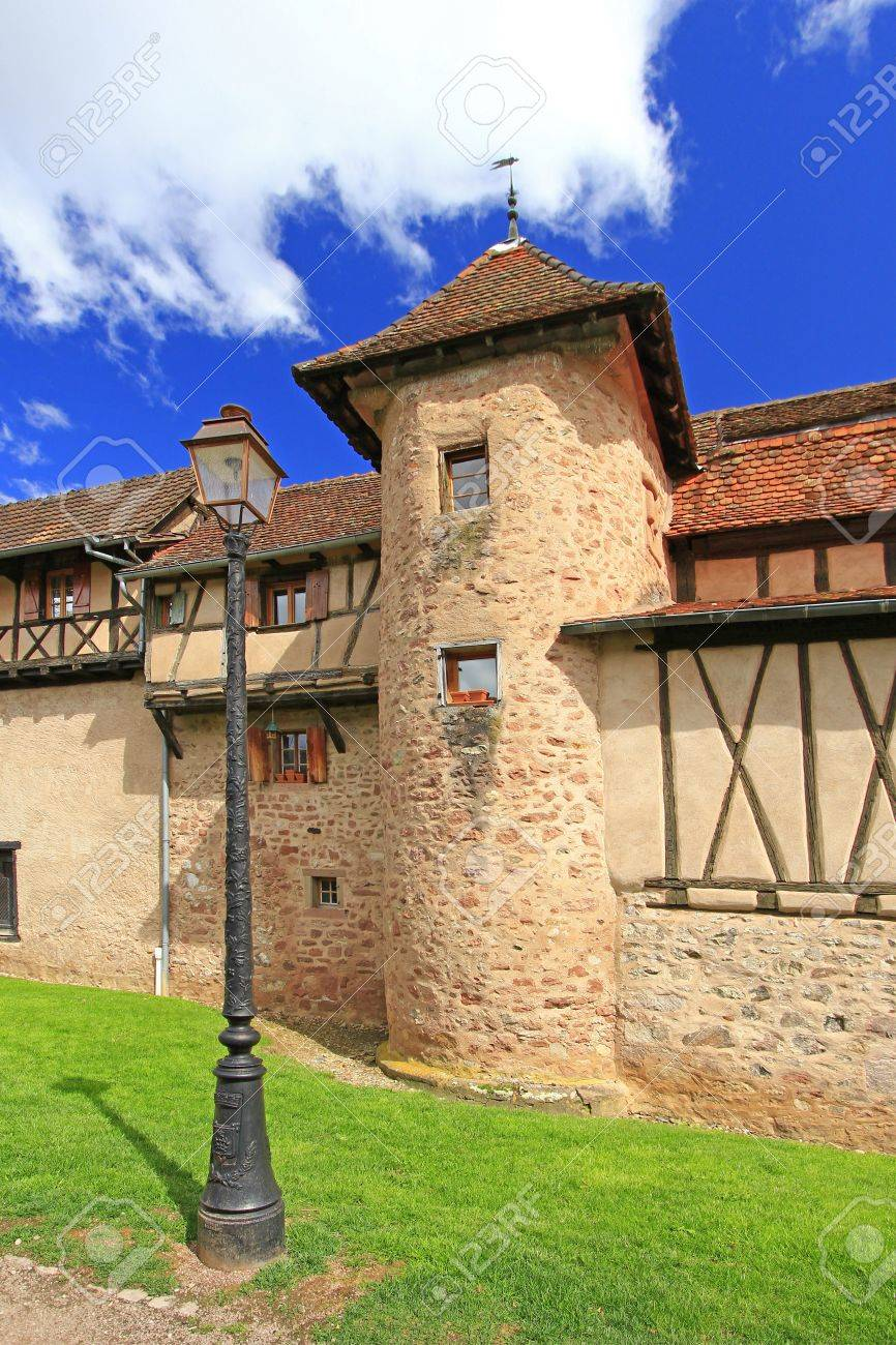 The medieval city walls of Riquewihr  German  Reichenweier  in Alsace, France Stock Photo - 15054215