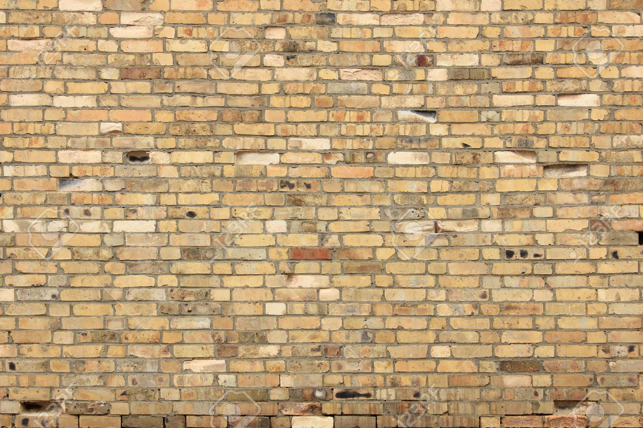 Decorative Wall Made Of Yellow Bricks Stock Photo, Picture And ...