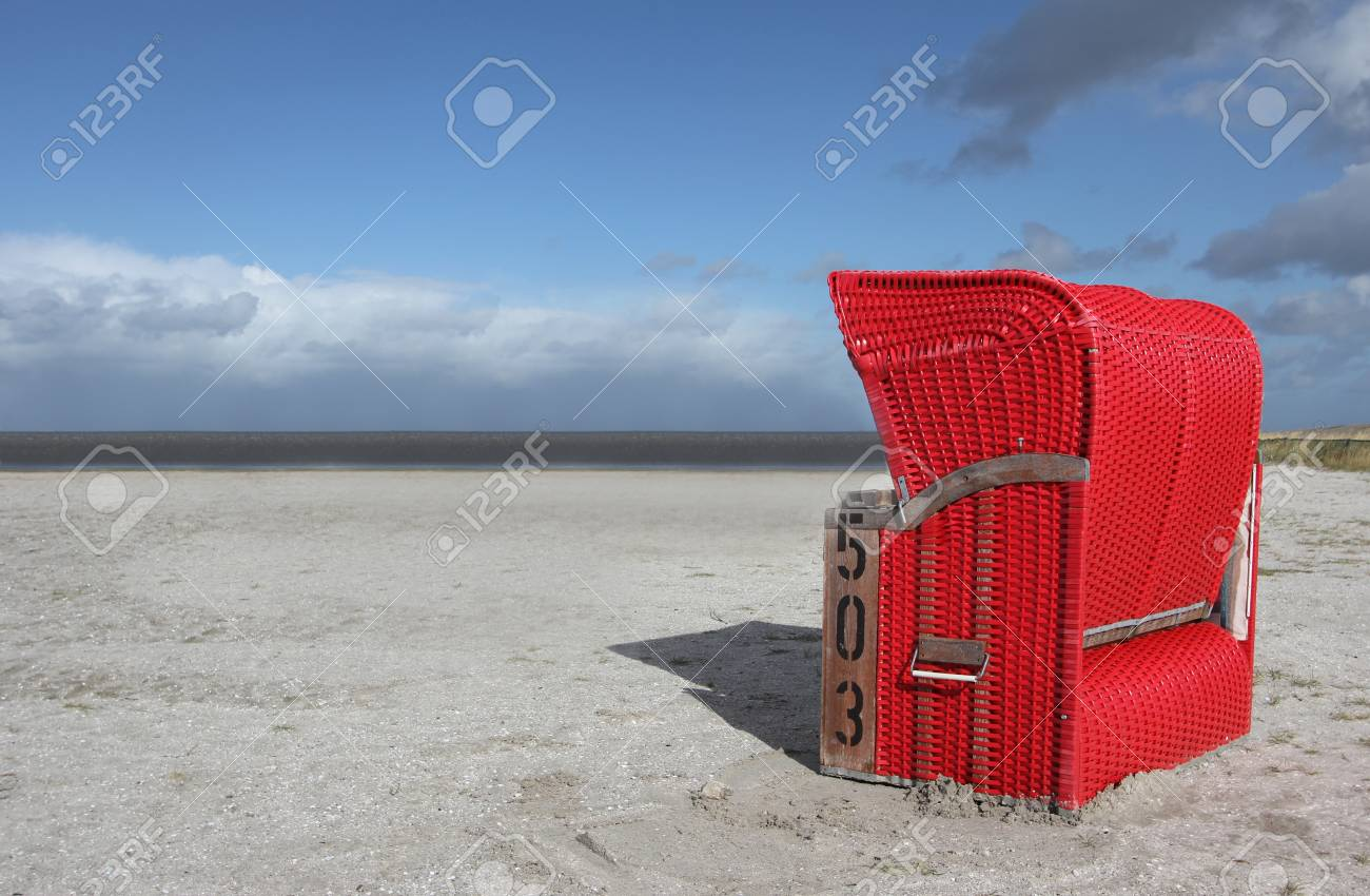 Red Beach Chair On The North Sea Germany Stock Photo Picture And Royalty Free Image Image 16427916