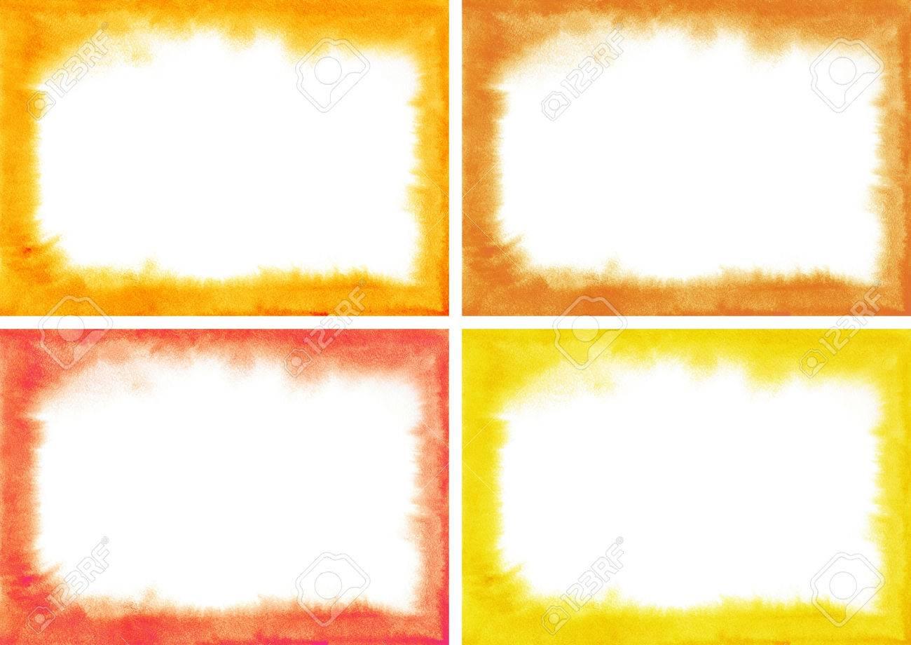 Set Rot Aquarell Rahmen Mit Weichen Kanten. Lila, Kirsche, Rot, Wein ...