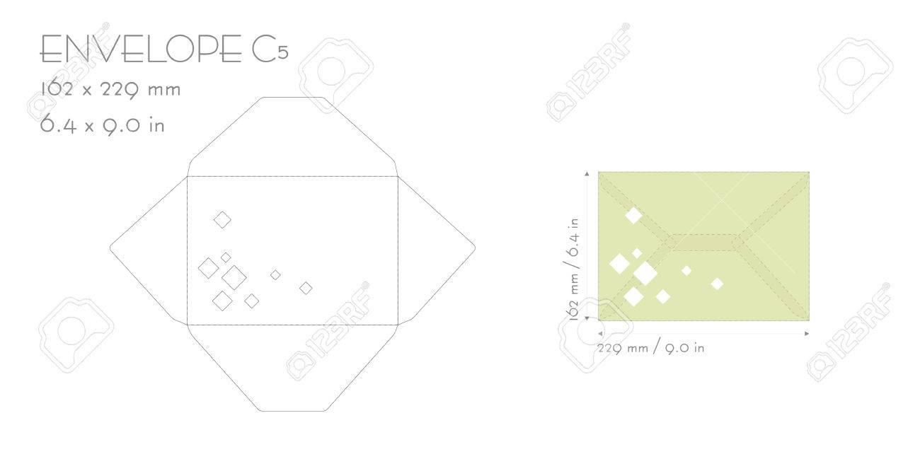 Envelope c5 template vector die cut. Wedding invitation envelope for cutting machine of laser cutting. Envelope mockup with squares. Invitation envelope C5. Envelope template for laser cutting. Minimalistic design. - 71758681