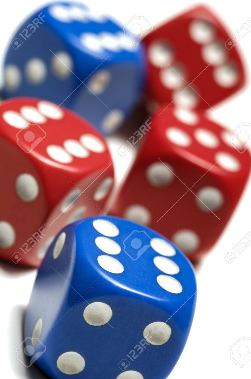 Five red and blue dice