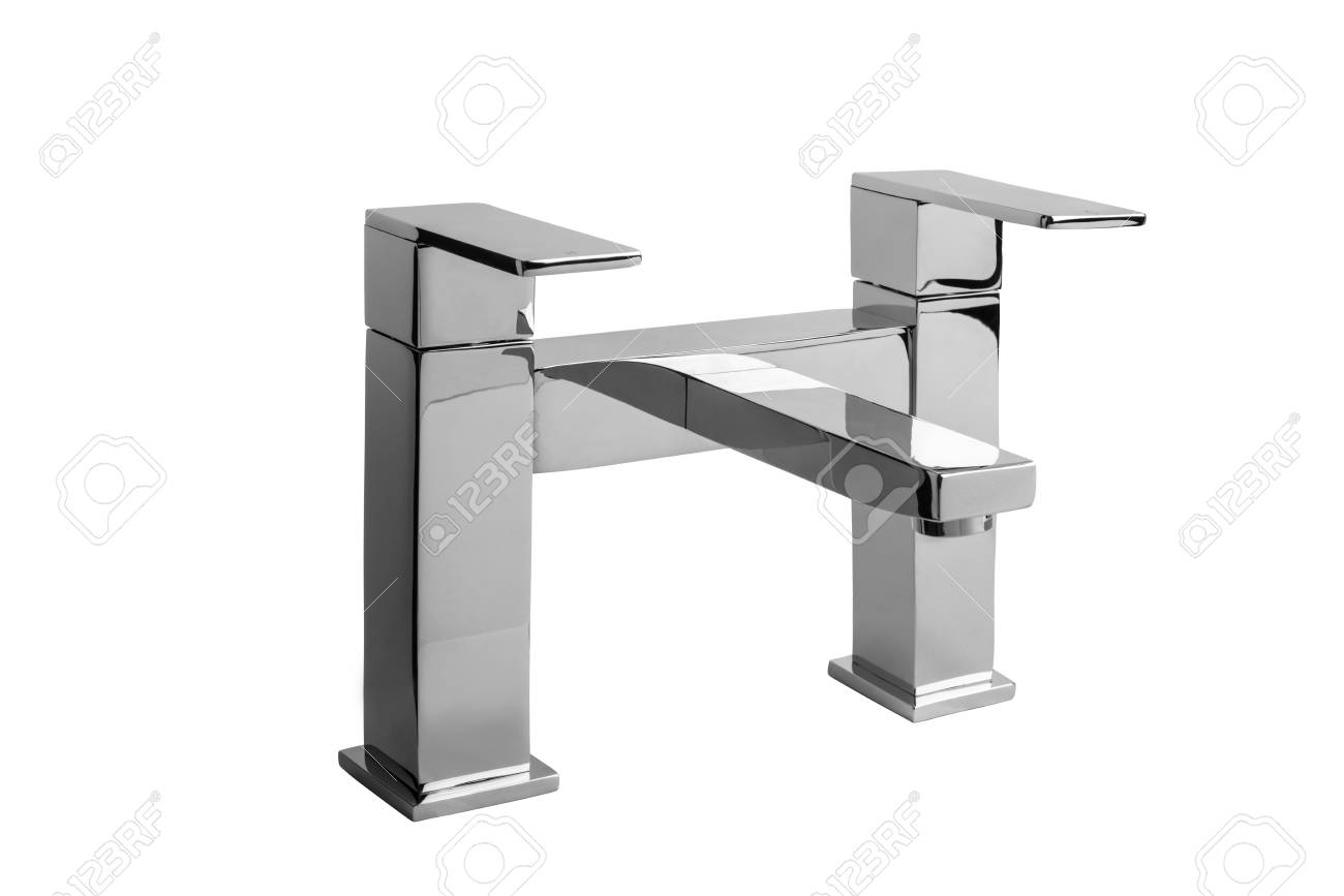 Chrome Bathroom Taps, On White Backround. Stock Photo, Picture And ...
