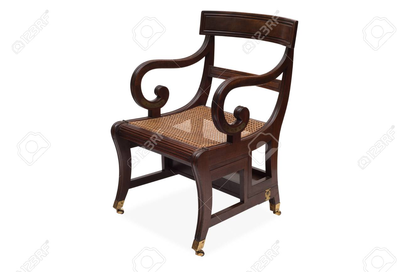 A Cut Out Of An Antique Wooden Armchair With Rattan Wicker Seat. Stock Photo