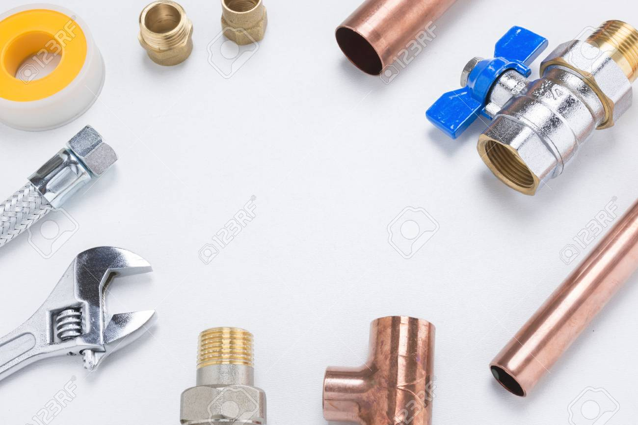 Copper Pipes And Other Plumbing Materials And Tools Including