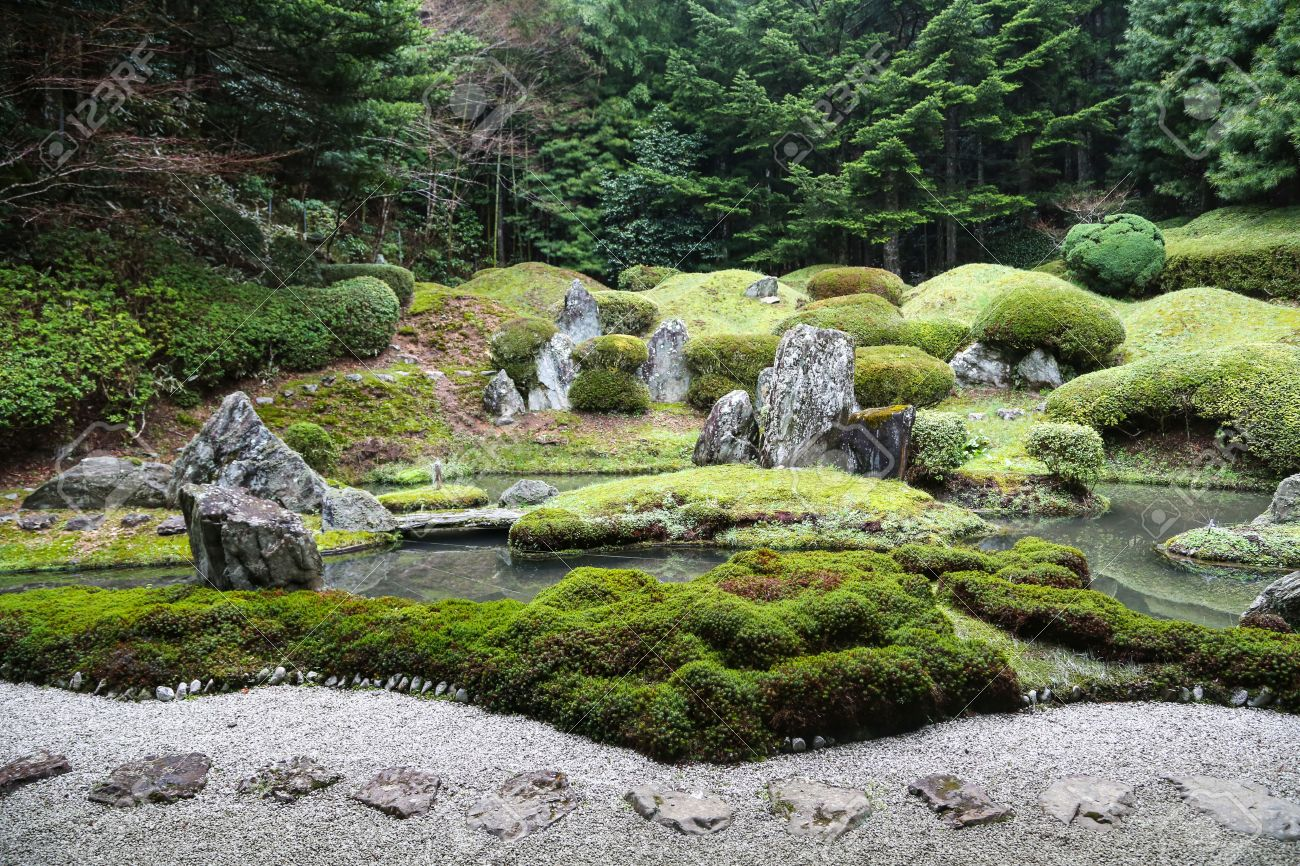 Peaceful Japanese Zen Garden With Pond, Rocks, Gravel And Moss Stock Photo    43697783