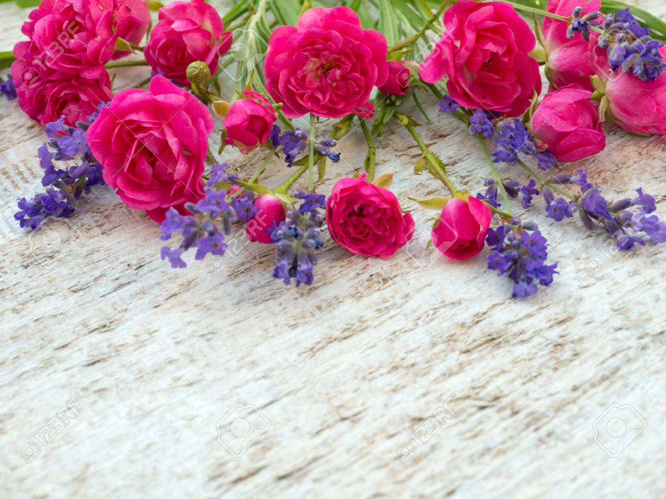 Small Deep Pink Roses And Provence Lavender Bouquet On The Rough Stock Photo Picture And Royalty Free Image Image 48208471