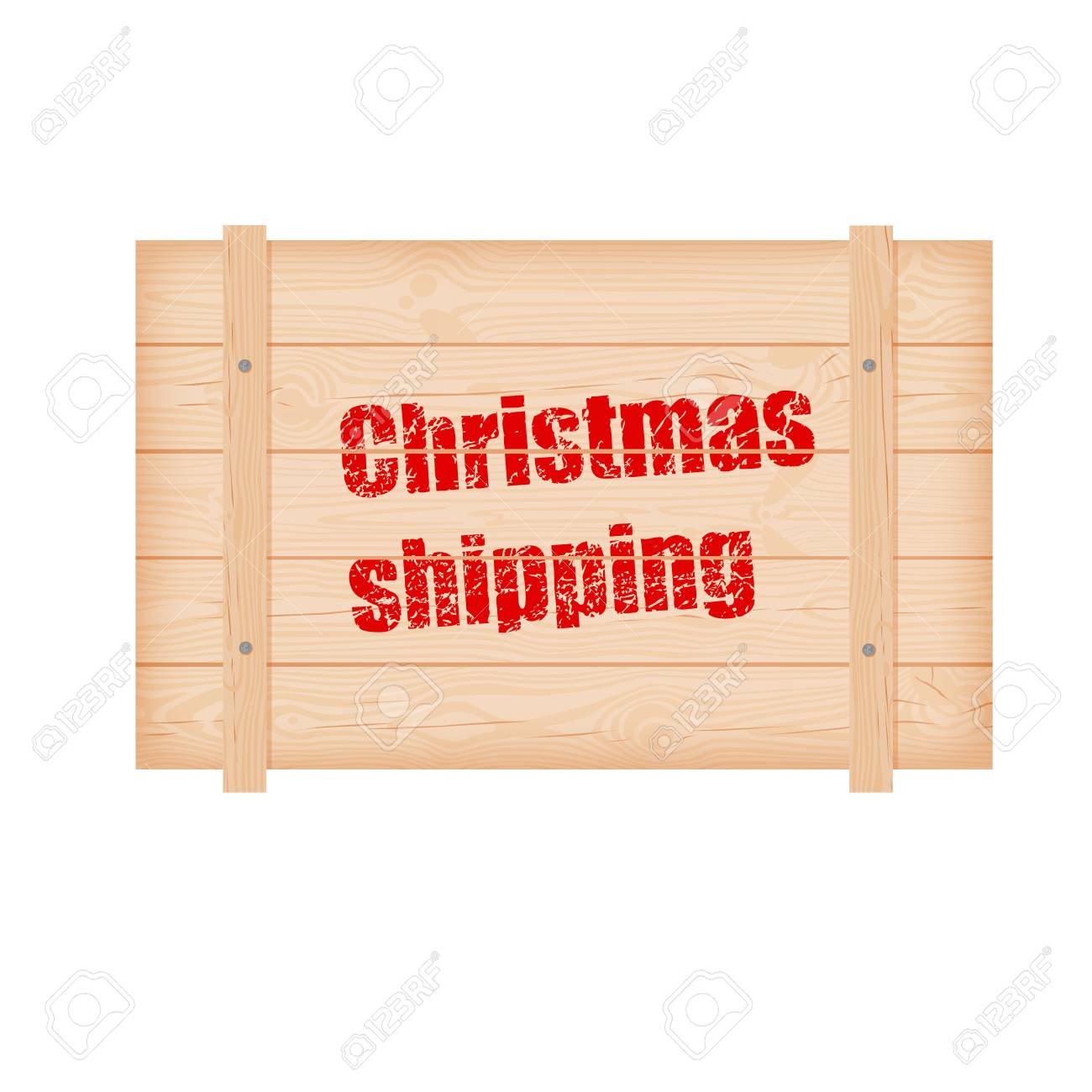 christmas wooden shipping box with knots cracks and nails and