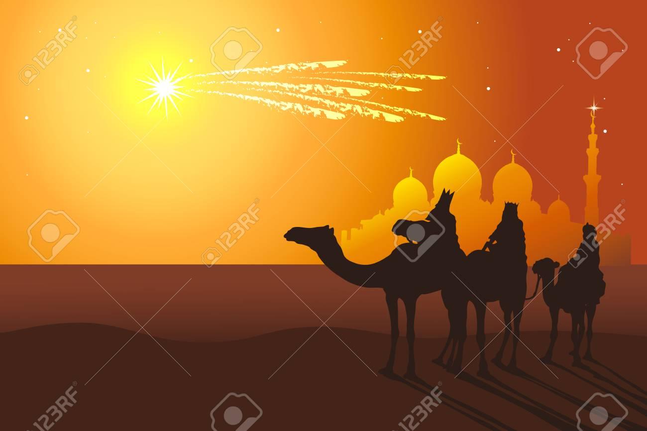 Three Kings: Melchior, Caspar, Balthazar follow the comet from orient vector illustration. Reyes Magos de Oriente holiday camel ride. - 92541901