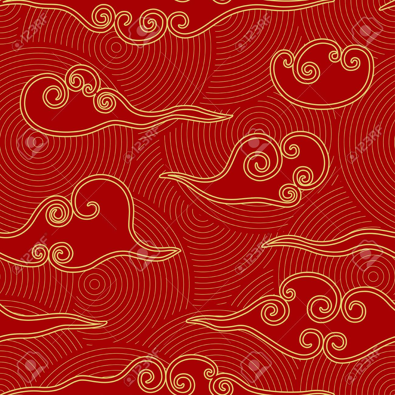 Chinese style clouds red and gold seamless pattern - 117093194