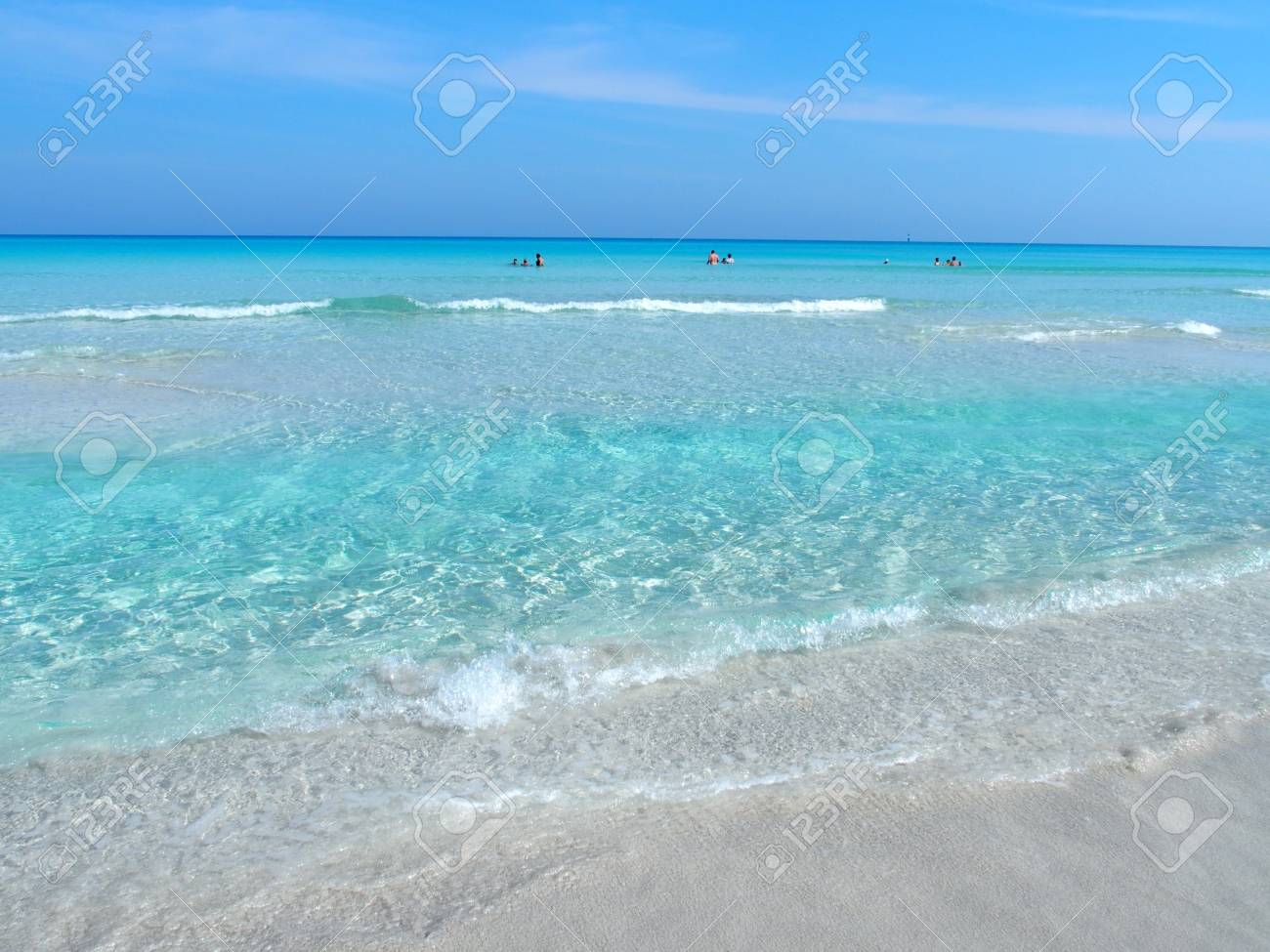 Sandy Beach At Caribbean Sea In Varadero City In Cuba Stock Photo