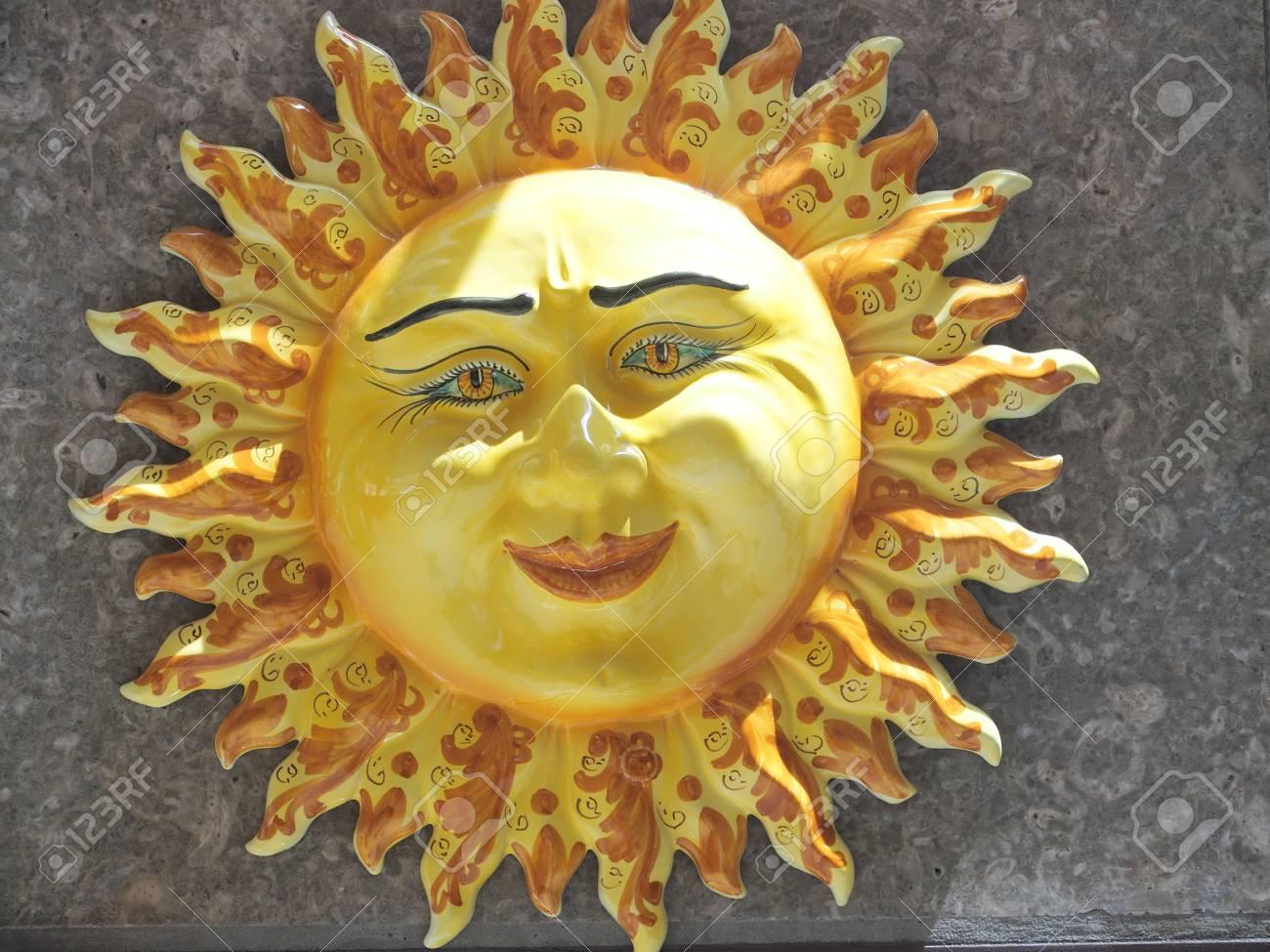 Handmade Ceramic Yellow Symbolic Sun Of SICILY On Wall In City ...
