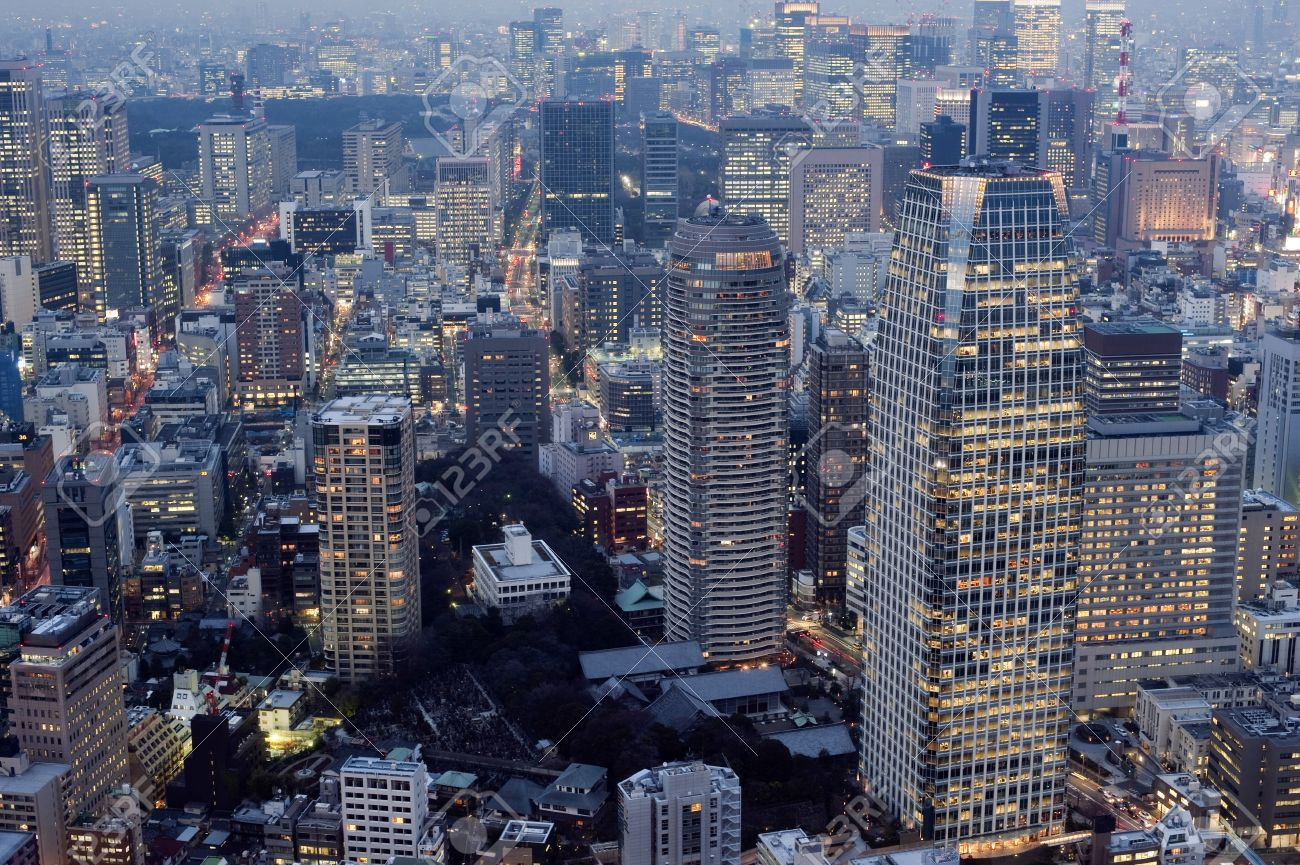 Panoramic View Of The High Density Metropolitan Buildings In Central Tokyo,  Japan Stock Photo