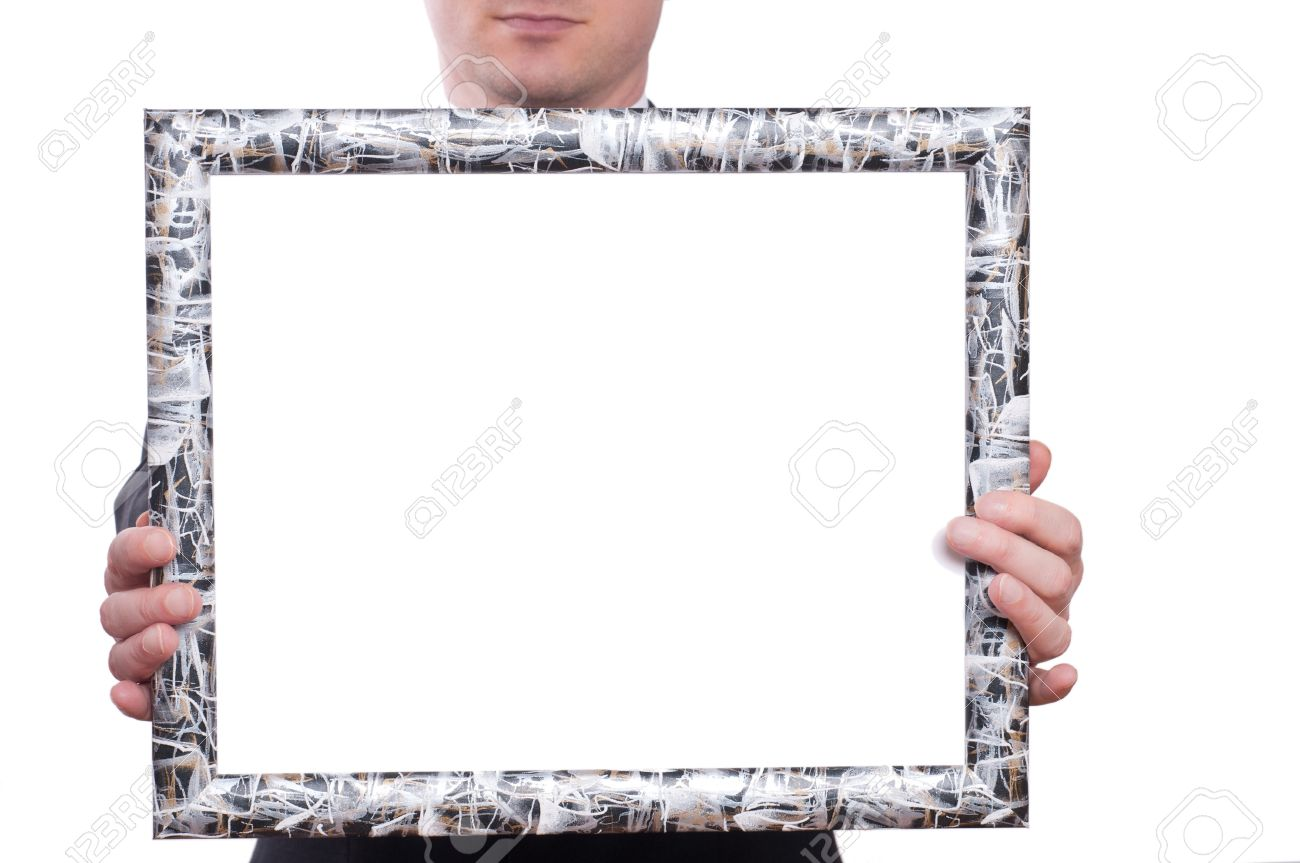 A Frame Is Holding From Two Hands Of A Man Stock Photo, Picture And ...