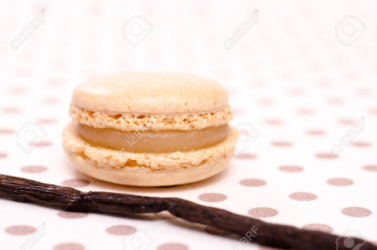 French speciality of beige macaron with flavour of vanilla Stock Photo - 18023852