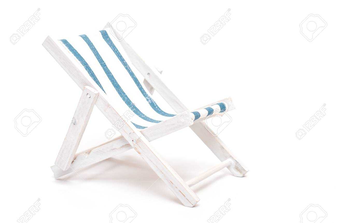 Brilliant Beach Chair With Blue And White Stripes On Cloth And Text Space Caraccident5 Cool Chair Designs And Ideas Caraccident5Info
