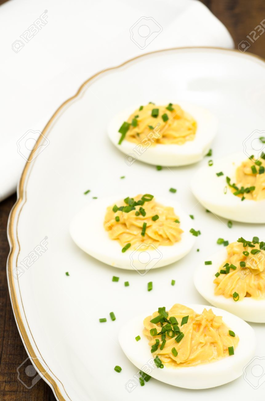 Hard Boiled Eggs With Mustard, Yolk And Mayonnaise Filling Stock Hard Boiled  Eggs With Mustard