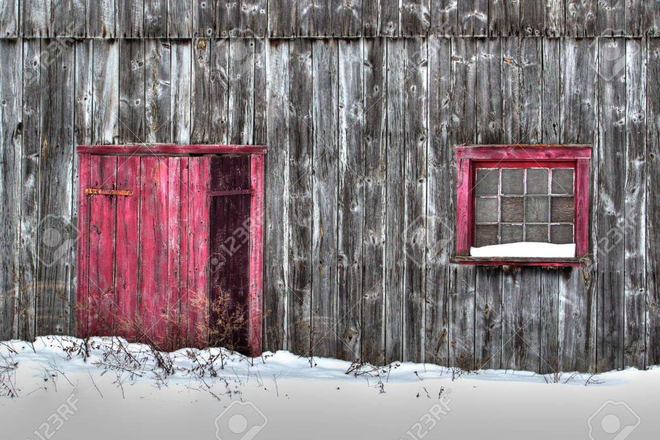 Close up of old gray wood planks barn in a snow field with red door and red window - 154926642