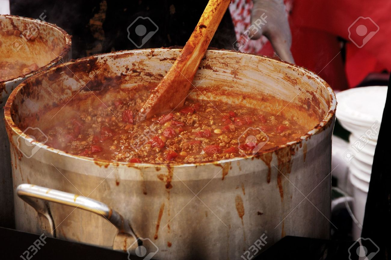 Preparing large batches of chili for a chili cook-off competition. Stock Photo - 5105745