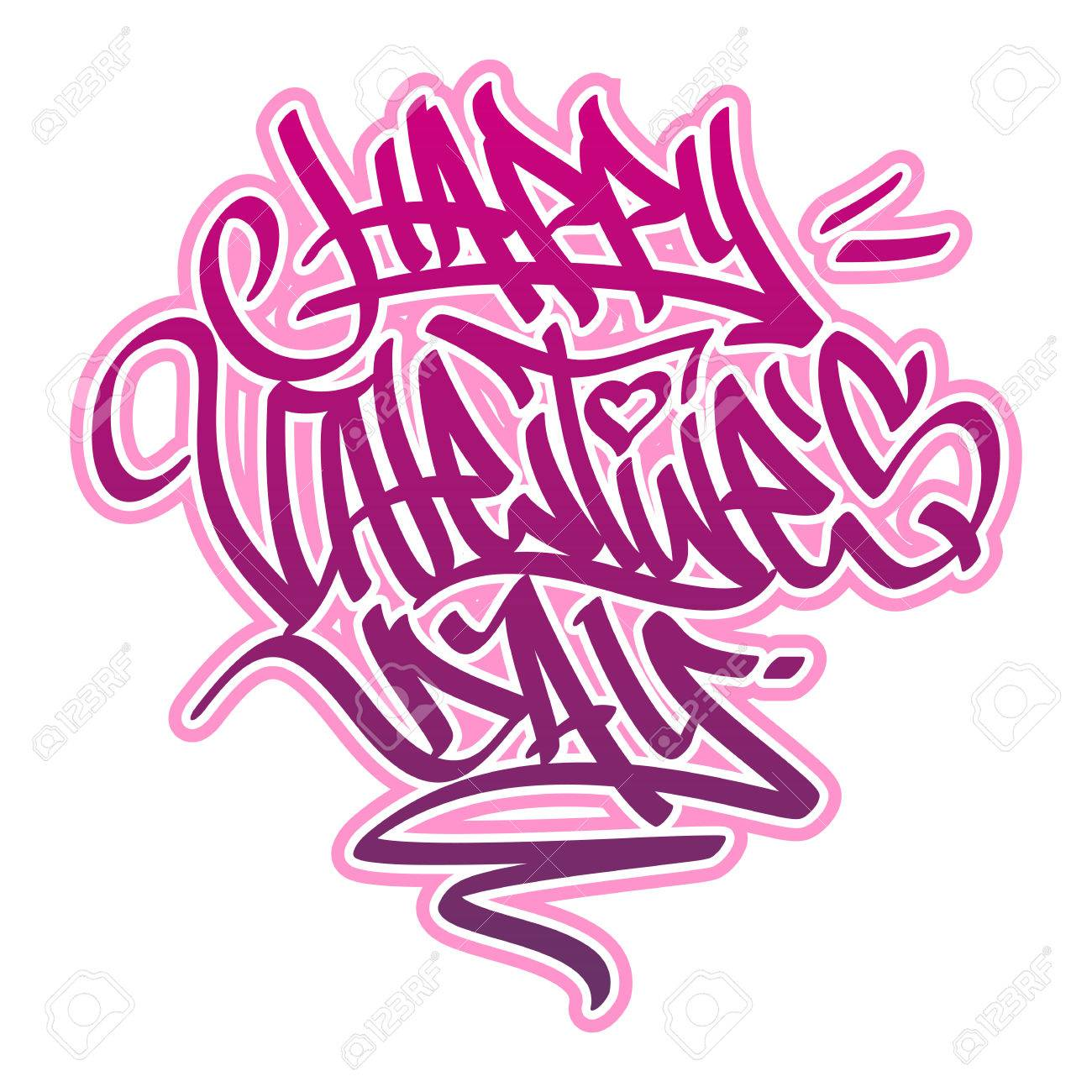 Happy Valentineã¢S Day Card In Graffiti Style In Pink And Red Colors