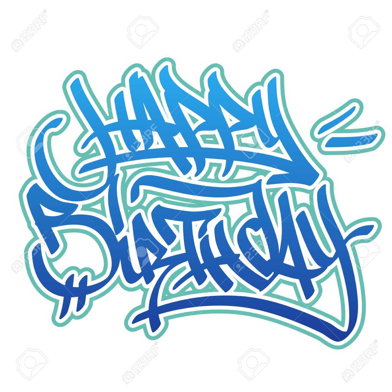 Happy Birthday Card In Graffiti Style In Blue Colors On White Background Stock Vector