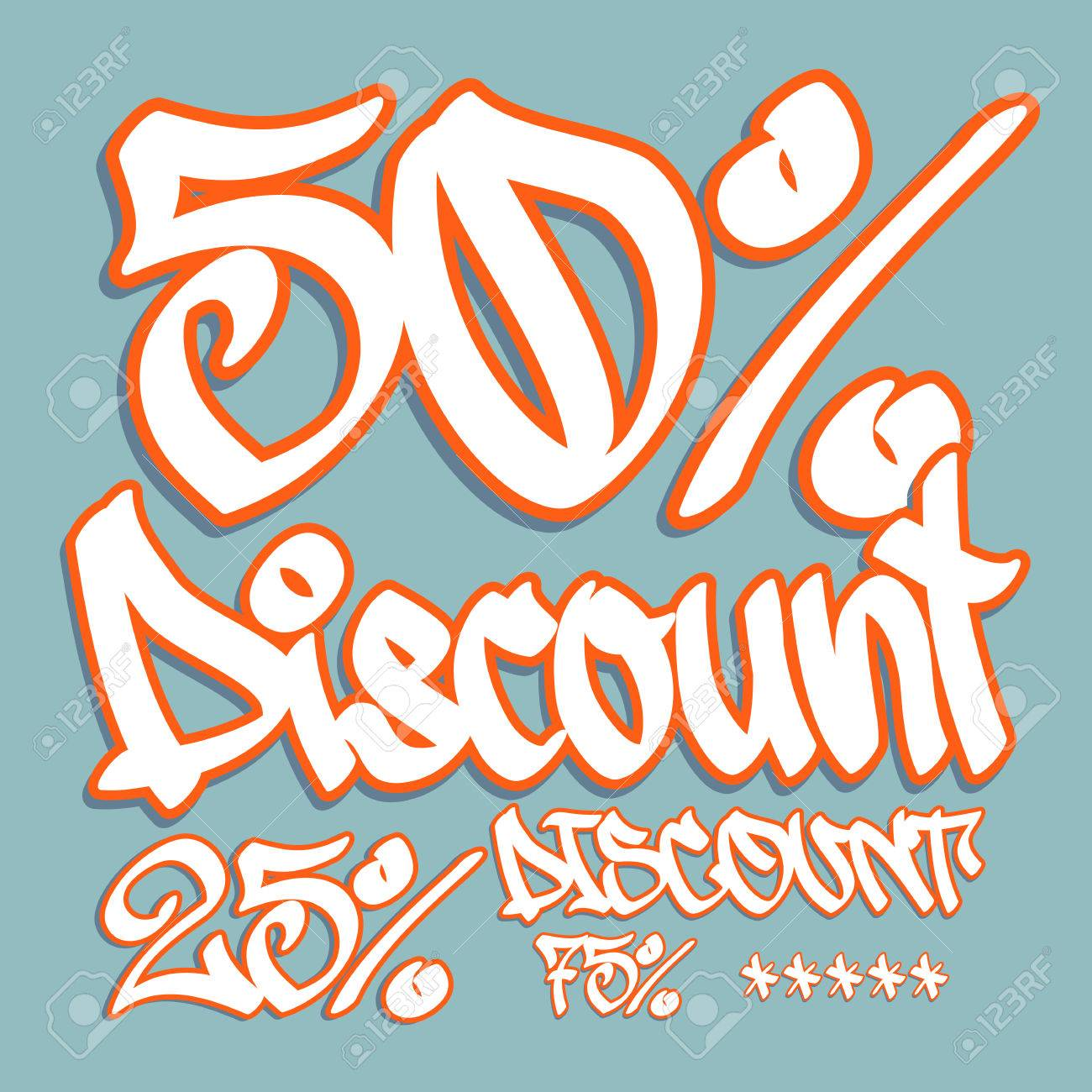 Fifty Percent Discount Tag In Graffiti Style