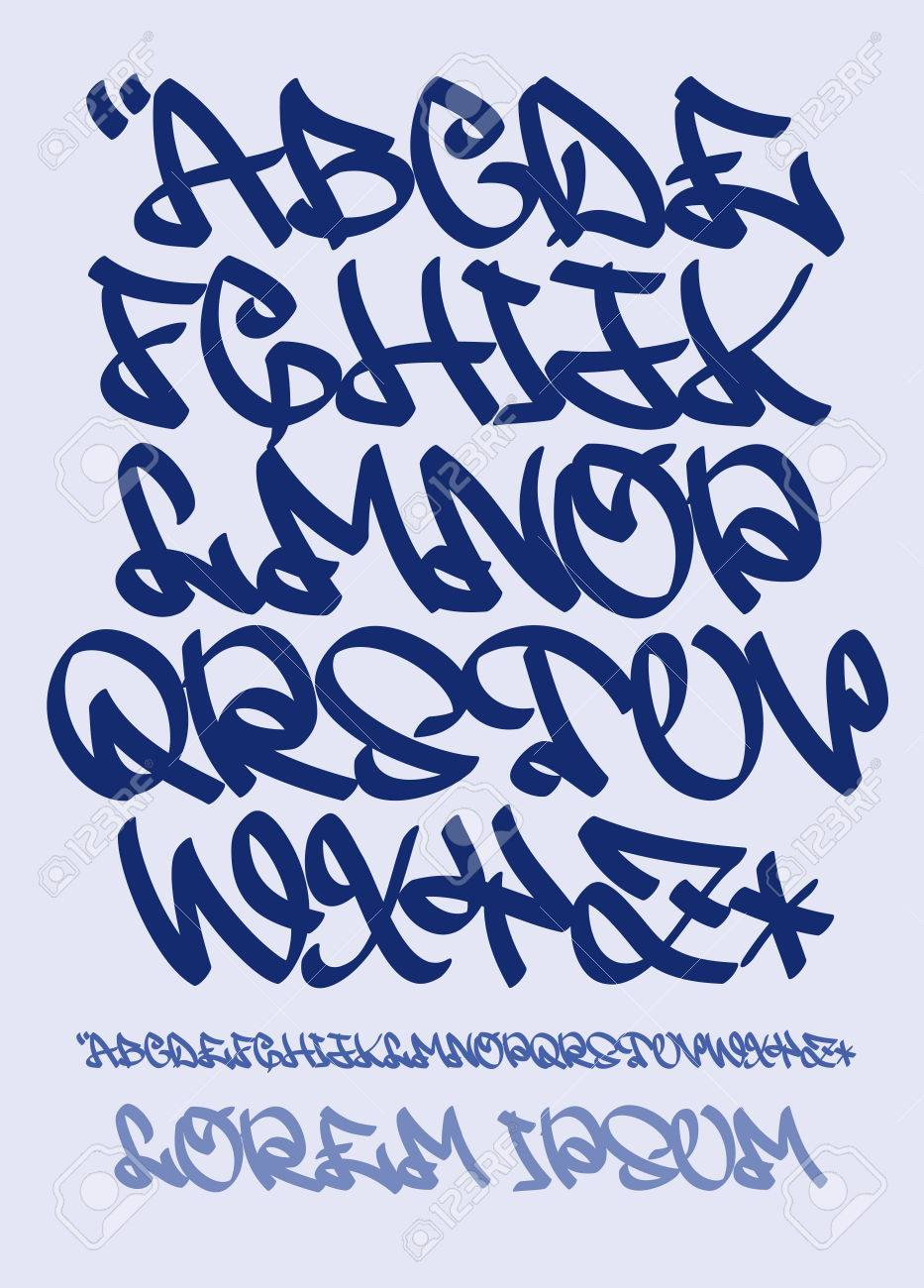Vector Vectorial Font In Graffiti Hand Written Style Capital Letters Alphabet
