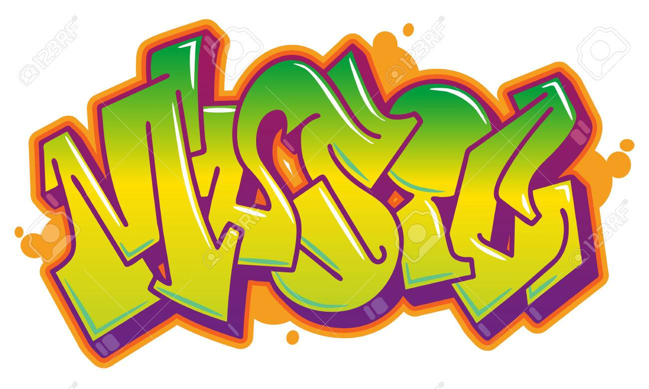Music Word In Readable Graffiti Style In Vibrant Colors Fully Customizable Colors Stock Vector