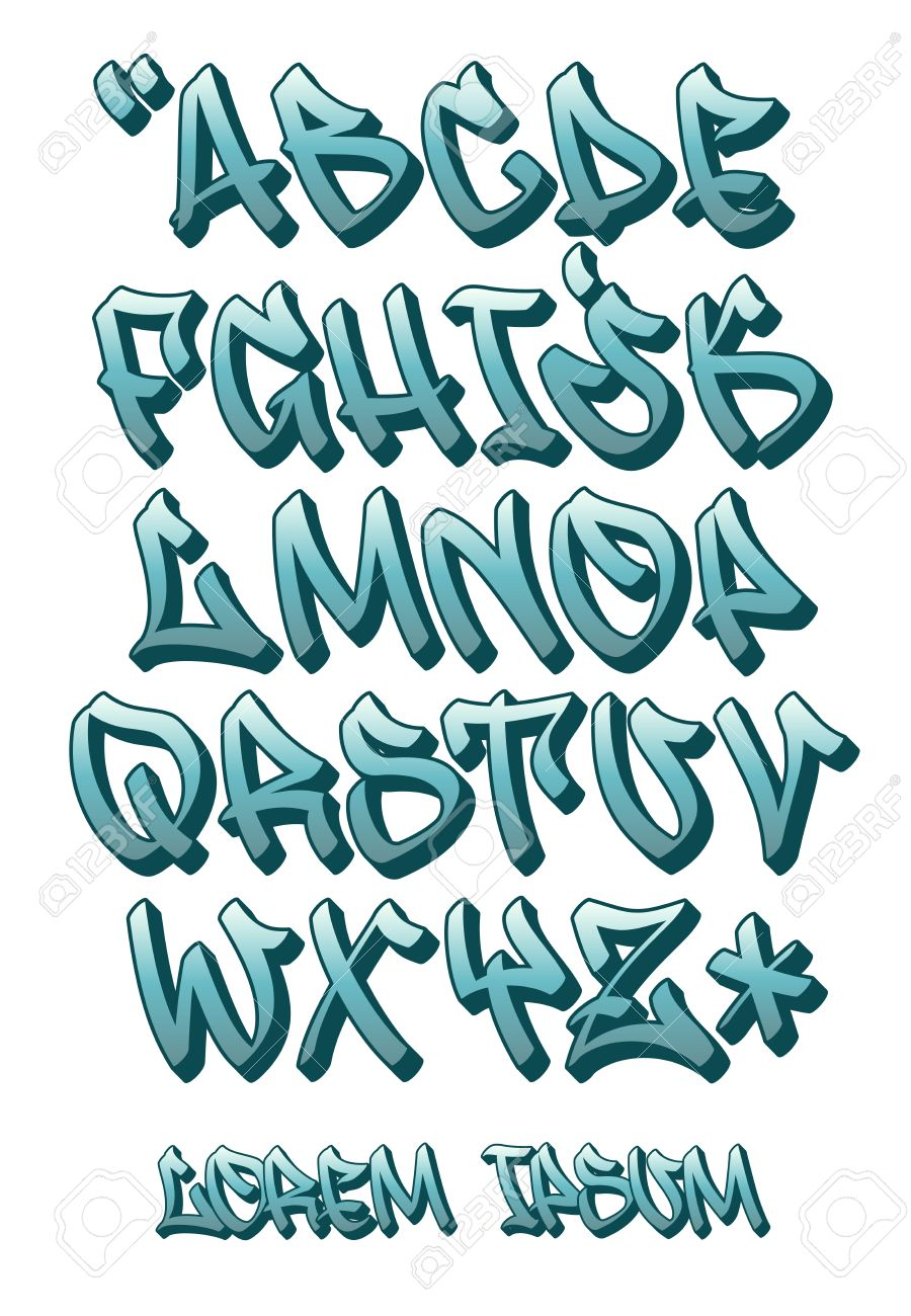 Vector vectorial font in graffiti hand written 3d style capital letters alphabet