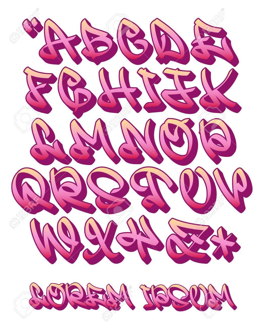 Vectorial Fuente En El Estilo De Graffiti Escrito A Mano 3d Letras