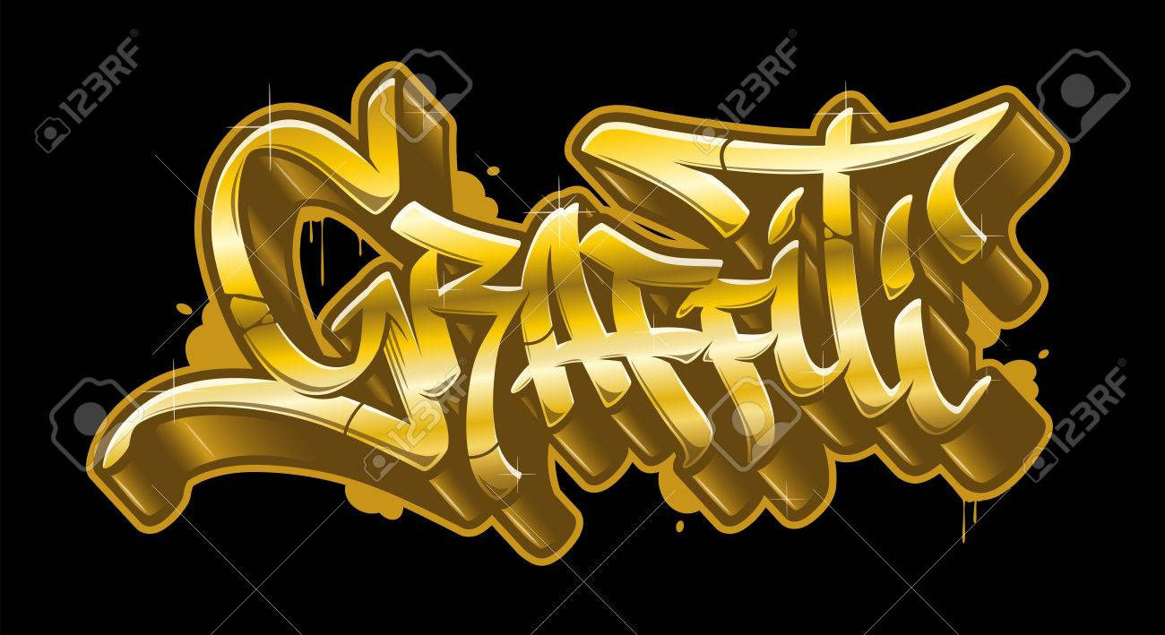 Graffiti word in readable graffiti style in golden colors gold vector text stock vector