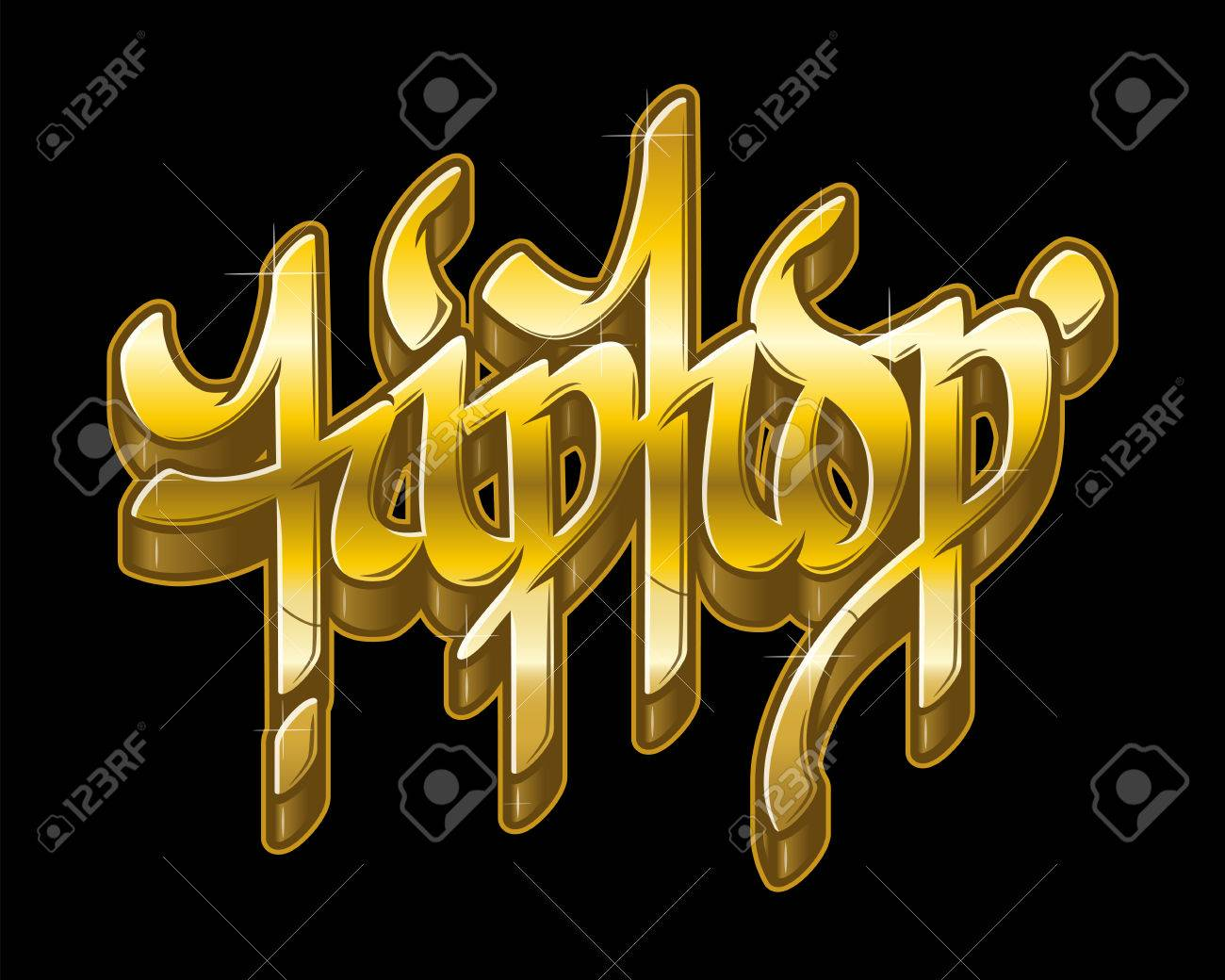 Hip-Hop Word In Graffiti Style In Metal Golden Colors. Gold Text ...