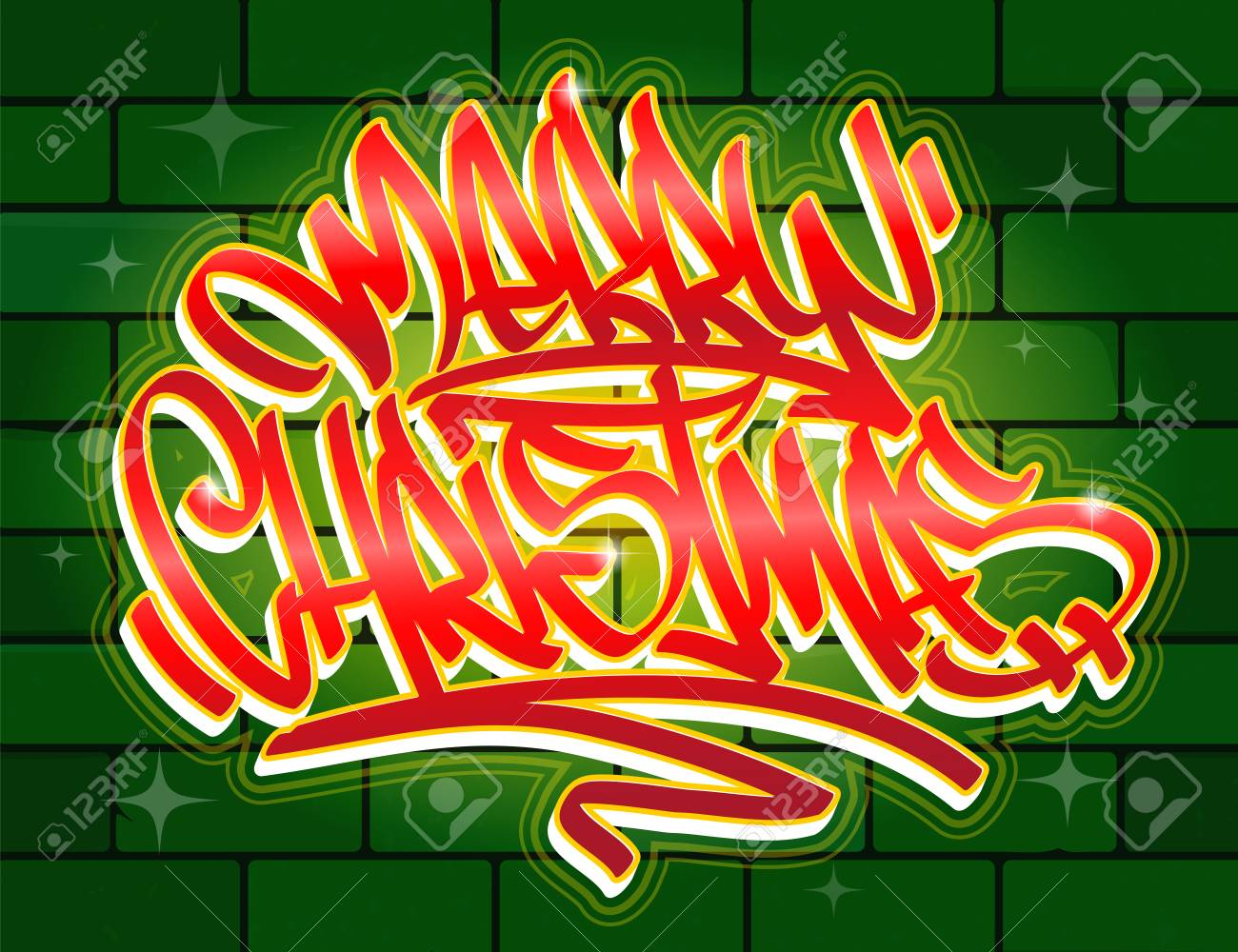 Christmas Graffiti Background.Merry Christmas Lettering Greeting Card In Graffiti Style In