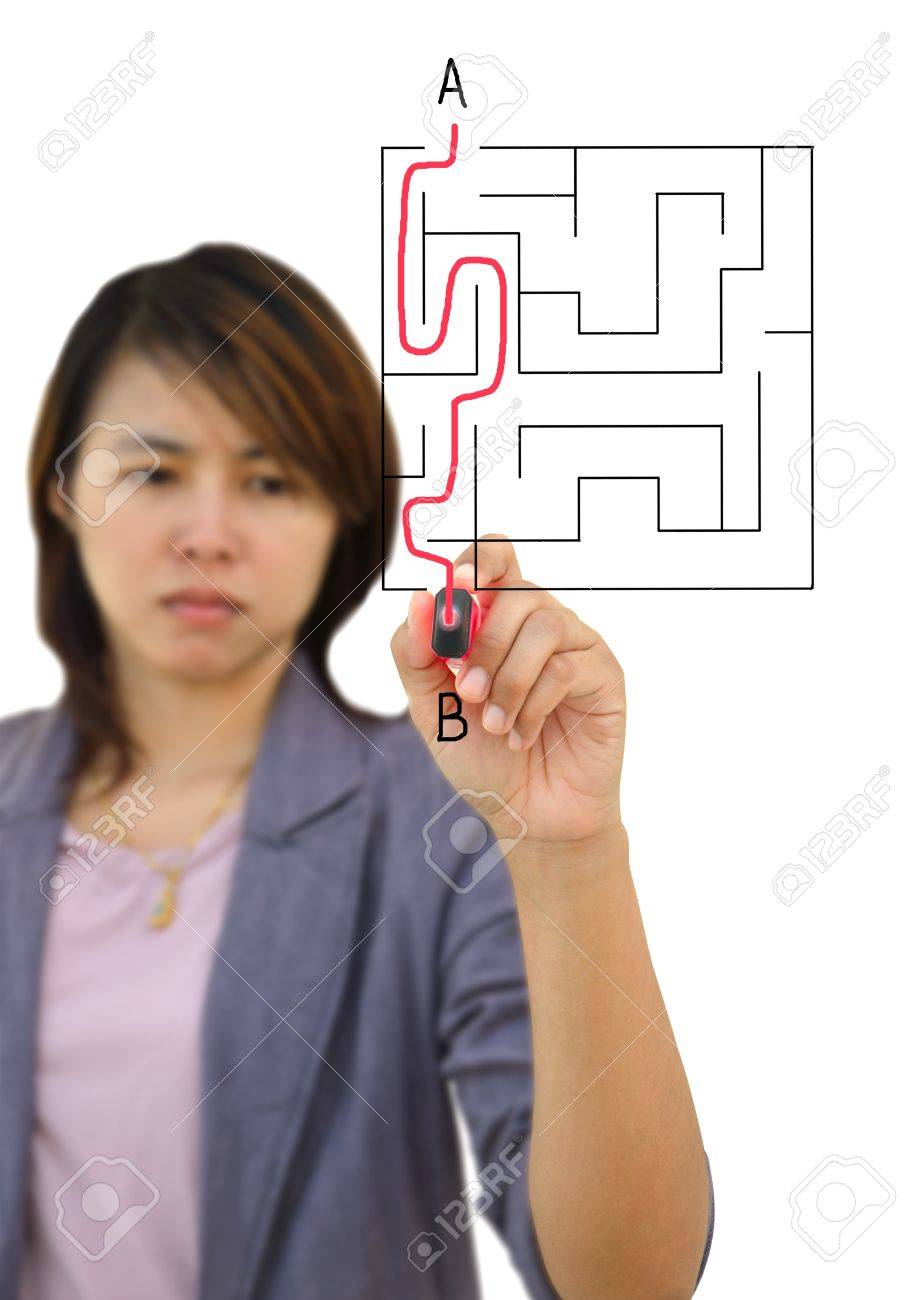 Business Woman finding the maze solution writing on the whiteboard Stock Photo - 11158331