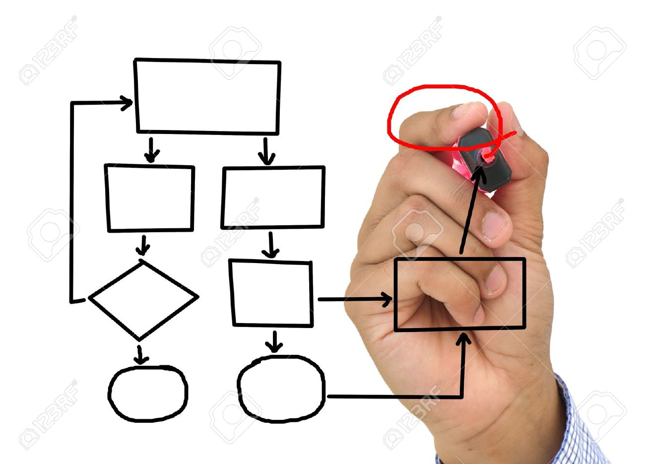 business man hand drawing flow chart isolated stock photo 11901045 - Draw Flow