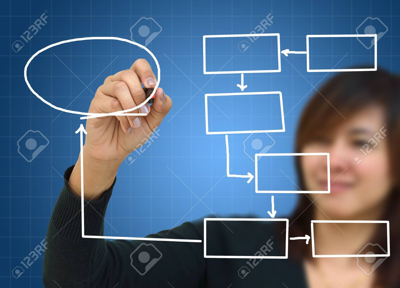 Business woman a hand drawing in a whiteboard Stock Photo - 11901351