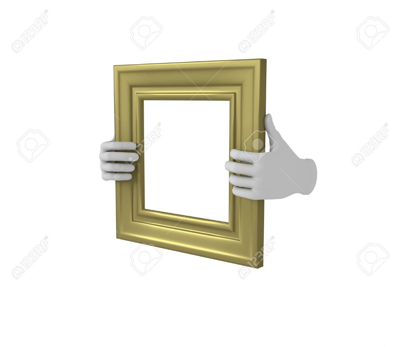 Zwei Hände, Die Eine Goldene Quadrat Bilderrahmen. 3d. Isoliert ...