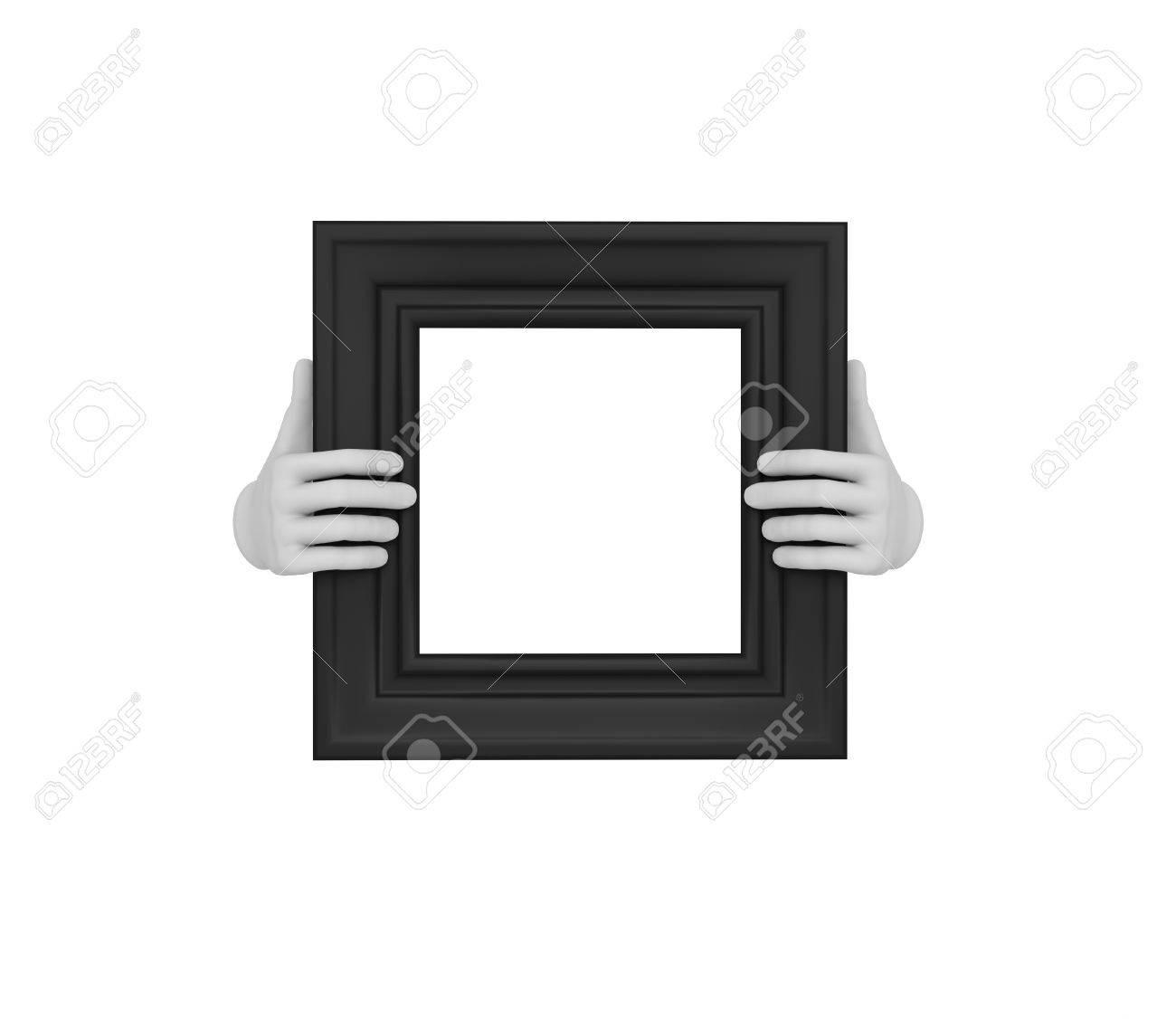 Zwei Hände, Die Ein Schwarzes Quadrat Bilderrahmen. 3d. Isoliert ...