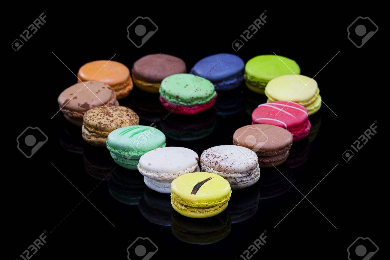 close up shot of various kind of fresh macaroon arrangement,Heart shaped Please see some similar pictures from my portfolio - 16974612