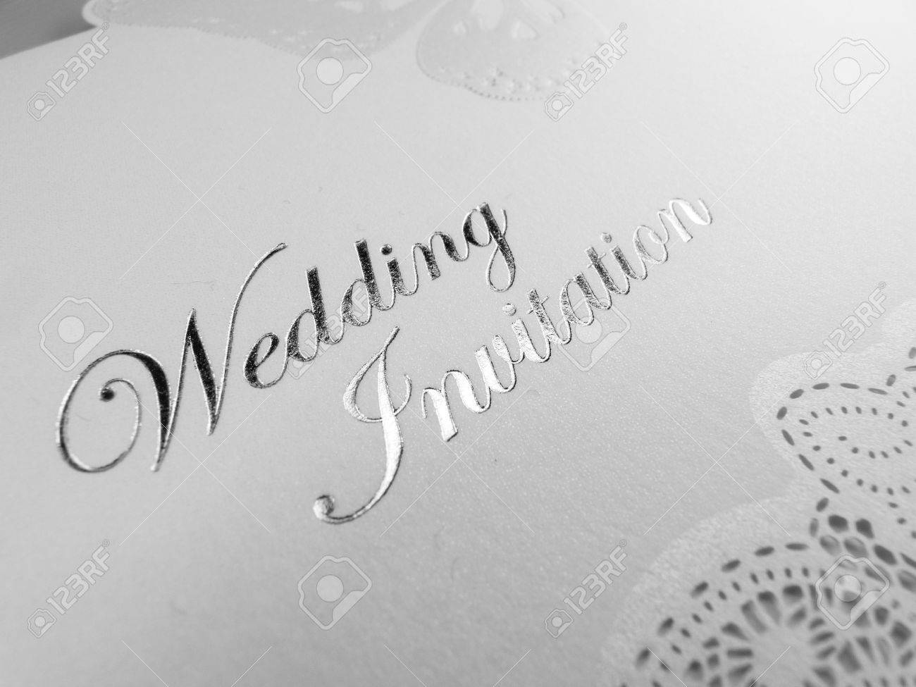 Silver And White Wedding Invitation Stock Photo, Picture And Royalty ...