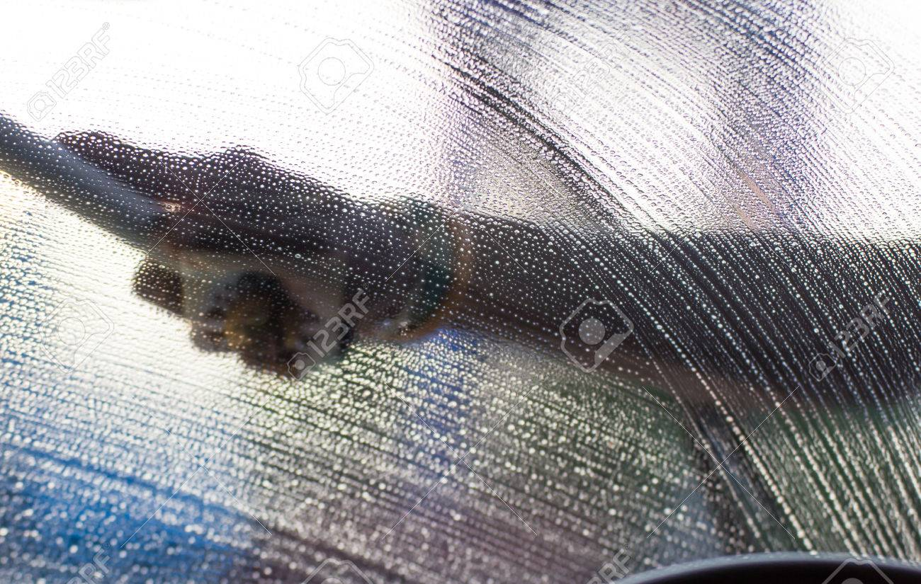Washing a car windshield Stock Photo - 24600562