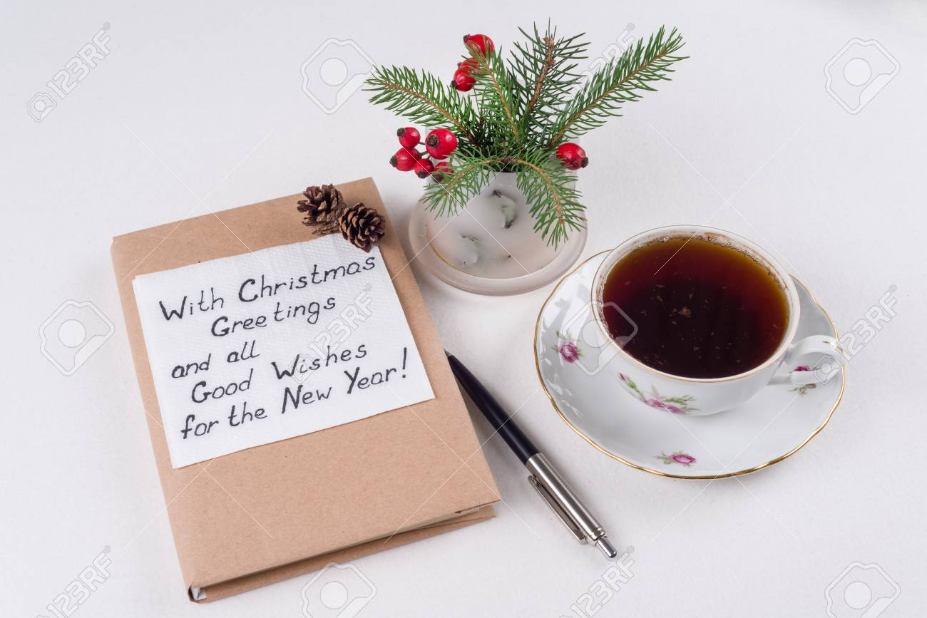 Merry Christmas Greetings Or Wishes Handwritten Text With Wishes