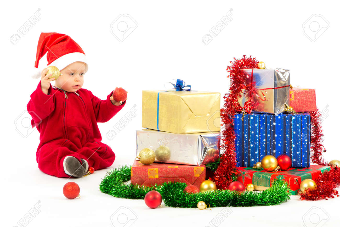 Santa Helfer Baby Mit Weihnachtsgeschenke Breite Weißem Hintergrund ...