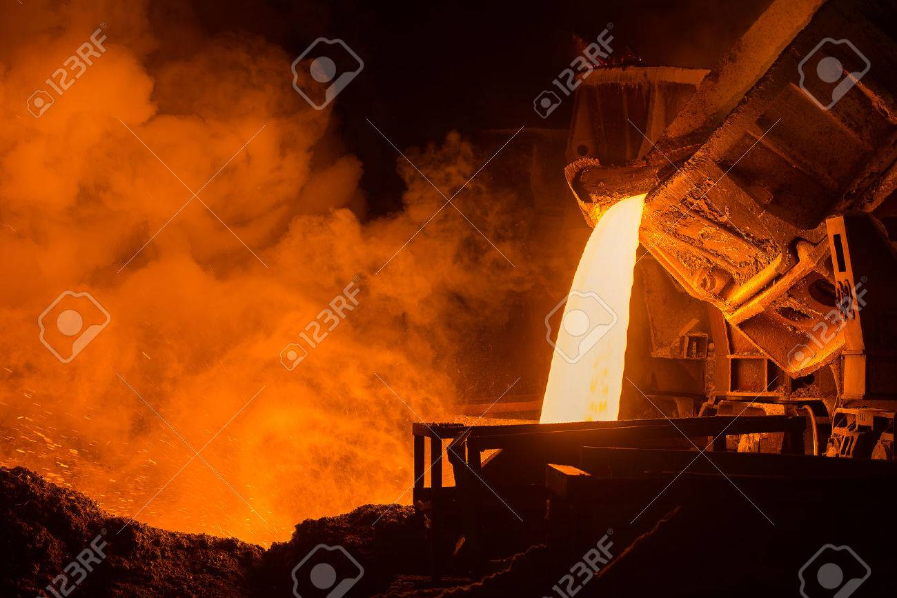 very hot steel pouring in steel plant - 50221308
