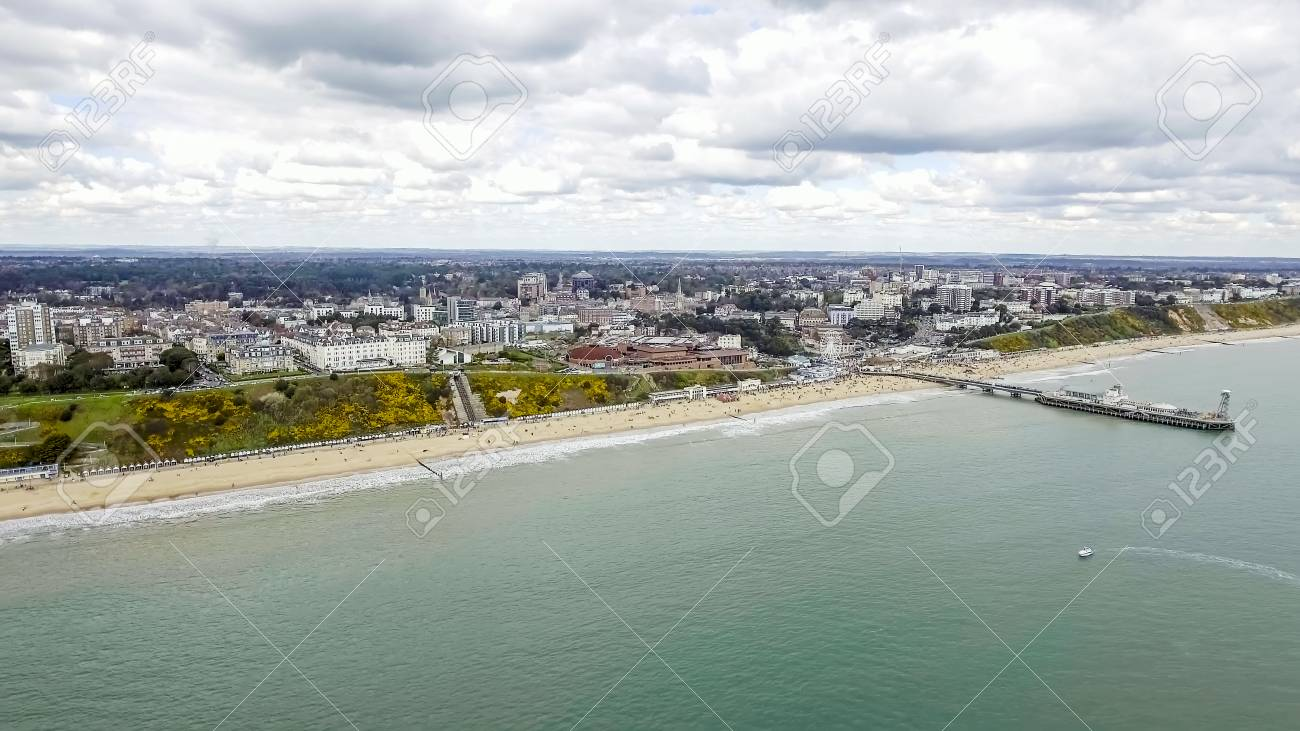 Beautiful Aerial View Photo of Bournemouth Pier Cityscape at Beach feat. Sea Front and Coast in England UK - 91033967