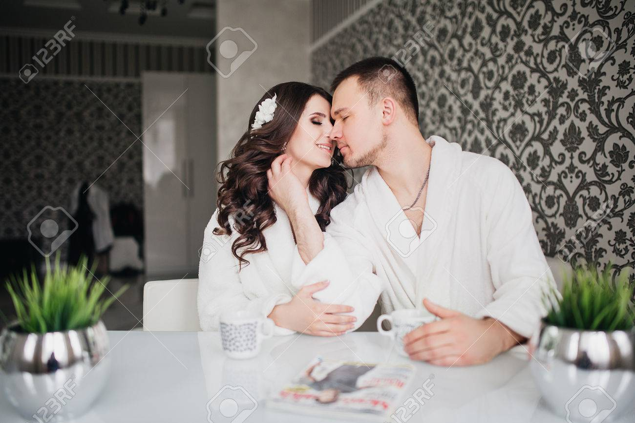 Beautiful Wedding Husband And Wife Lovers Man Woman In White Coats Stock Photo
