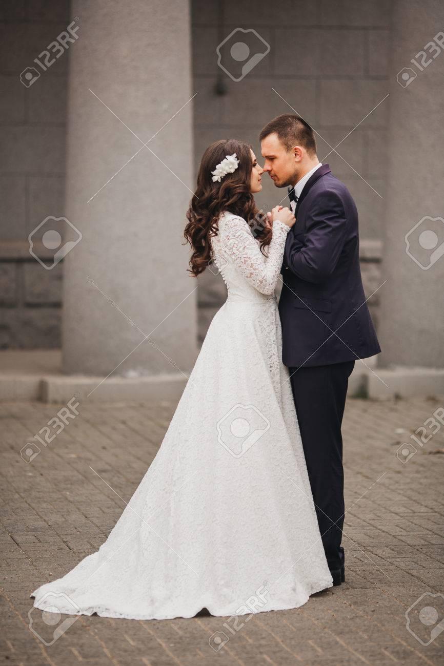 Beautiful Wedding Husband And Wife Lovers Man Woman Bride And Groom Stock Photo