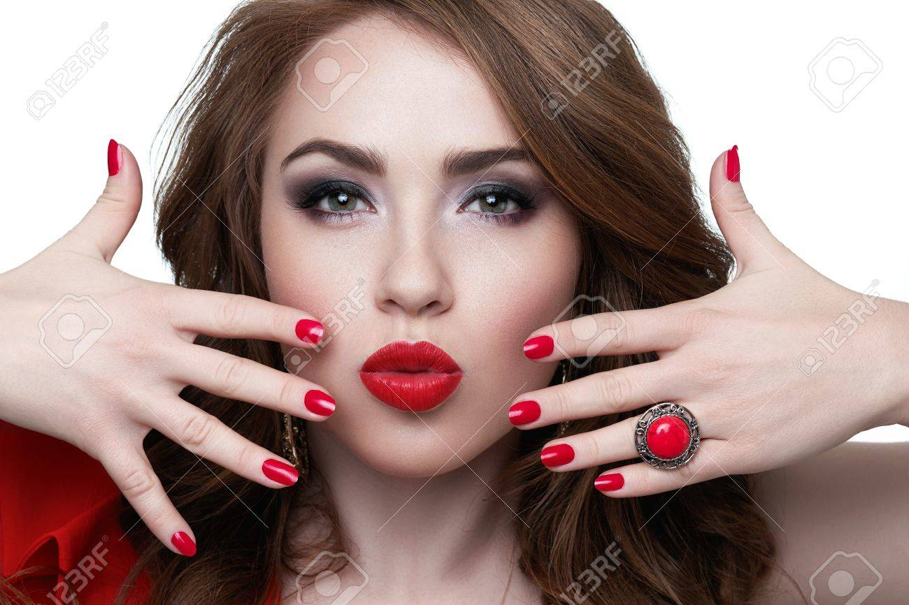 Close-up Of A Beautiful Women Holding Finger On Her Red Lips.. Stock ...